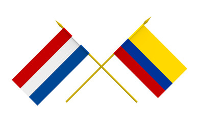 Flags, Colombia and Netherlands