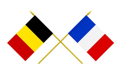 Flags, France and Belgium