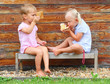 Little kids eating sandwich on the rural bench.