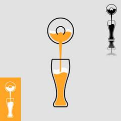 Simple beer pour flat design icon