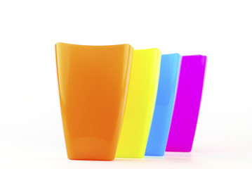 Colorful plastic glasses