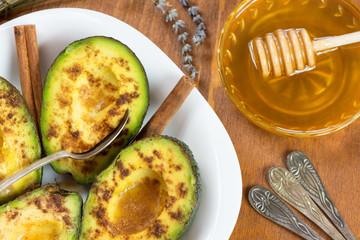 Avocado with cinnamon and honey
