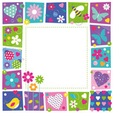 Fototapety cute hearts flowers and butterflies border