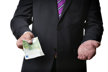 Businessman offering banknote