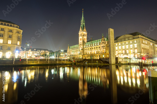 canvas print picture The center of Hamburg at night