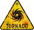 tornado warning sign, heavy weathered, vector eps 10