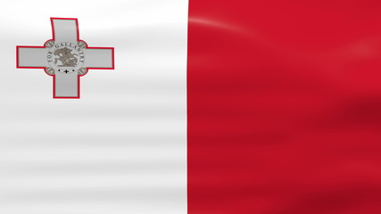 Waving Malta Flag, ready for seamless loop.