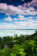 View of Balaton lake from Tihany abbey - Hungary