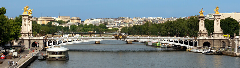 Paris - Panoramic view to Bridge of Alexandre III