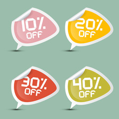 Vector Ten - Twenty, Thirty and Forty Percent Stickers