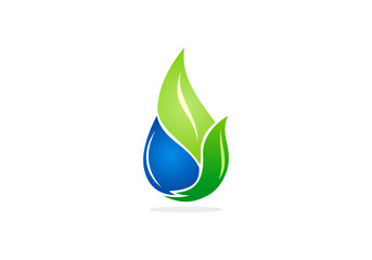 bio eco water and leaf abstract vector