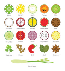Set of Tropical Fruit and Tropical Herb Icon in Flat Design