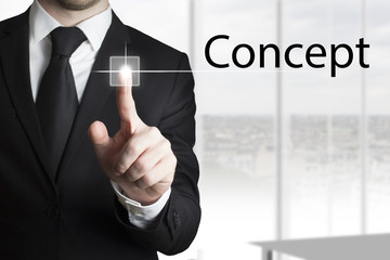 businessman pressing touchscreen concept