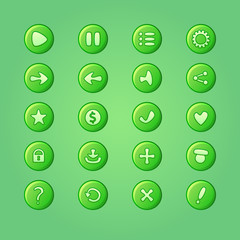 Set of mobile bright green vector elements for UI Game Design (g