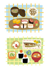 Japanese foods set