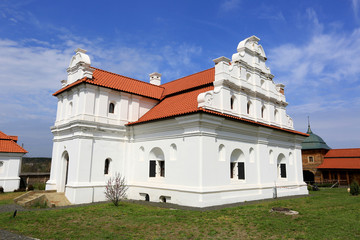 Ukrainin Church with white walls and red tile roof