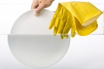 Sinking dish into water