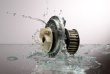 Auto parts, engine cooling pump in spurts of water.