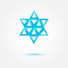 Abstract Jewish star made by triangles - vector symbol