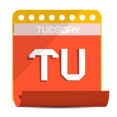 Tuesday Vector Paper Calendar Illustration