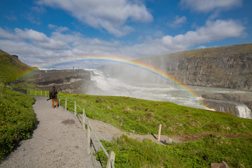 Closeup of Waterfall Gullfoss and rainbow, Iceland
