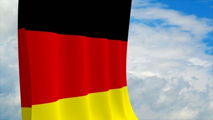 German flag on sky background