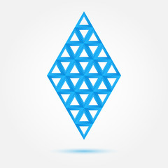 Blue vector symbol made of triangles - abstract rhombus shape ic