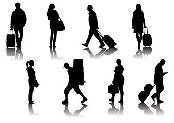 Traveling people silhouettes black vector