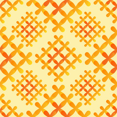 Orange crosses seamless pattern - vector abstract background tex