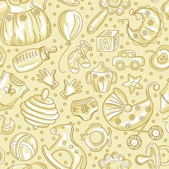 seamless pattern baby icons