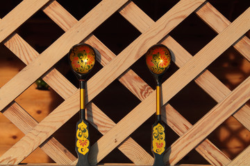 wooden spoons on wooden background lattice