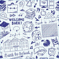 Seamless pattern freehand drawing of school supplies