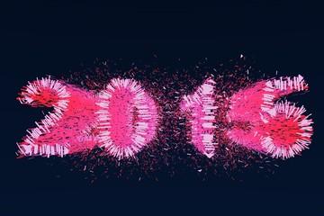 2015 roze vuurwerk bij nacht