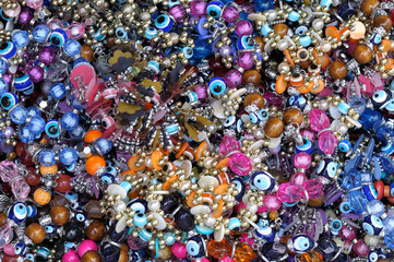 A mixture of traditional Turkish bracelets and jewelery