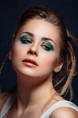 woman with color make-up