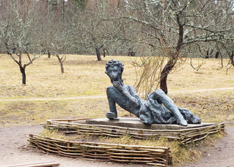 Sculpture of young Alexander Pushkin in Mikhaylovskoye, Russia