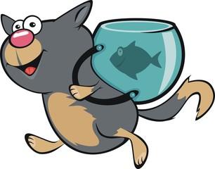 Прогулка кота с аквариумом