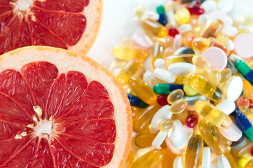 Fruit and vitamin supplements, healthy diet concept