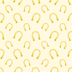 Vector gold seamless pattern of lucky horse shoes suitable for p