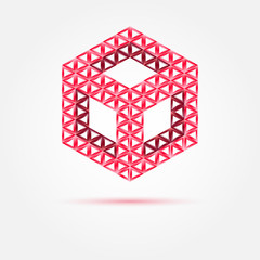 Vector red cube isometric icon made with triangles - abstract sy
