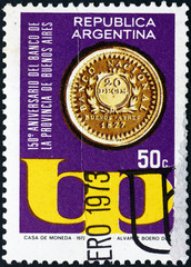 Postage stamp Argentina 1973 First Coin of Bank of Buenos Aires