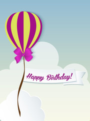 Happy birthday ballons greeting card violet paper
