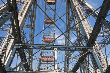 Ferris wheel in the Prater amusement park. Vienna. Austria