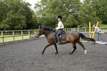 Young female rider in the paddock with her pony