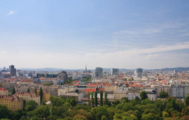 View of Vienna from the Ferris wheel in the Prater. Austria
