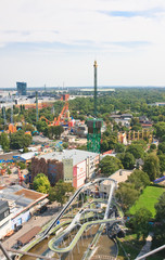 View of the Prater amusement park with a Ferris wheel. Vienna. A