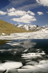 mountain lake with ice floes in mountains