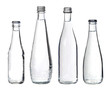 glass bottles with water isolated on white