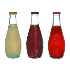 small juice bottles isolated on white