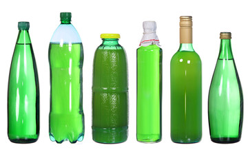 set of green bottles isolated on white